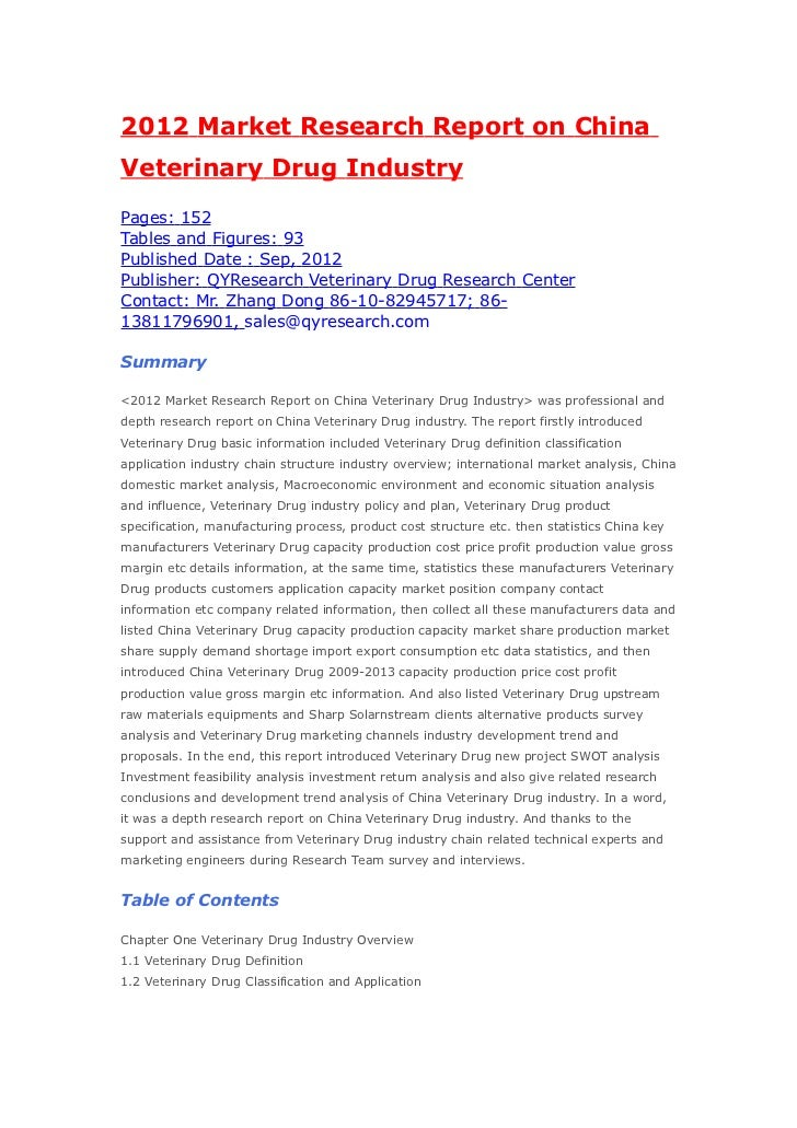 2012 Market Research Report on ChinaVeterinary Drug IndustryPages: 152Tables and Figures: 93Published Date : Sep, 2012Publ...