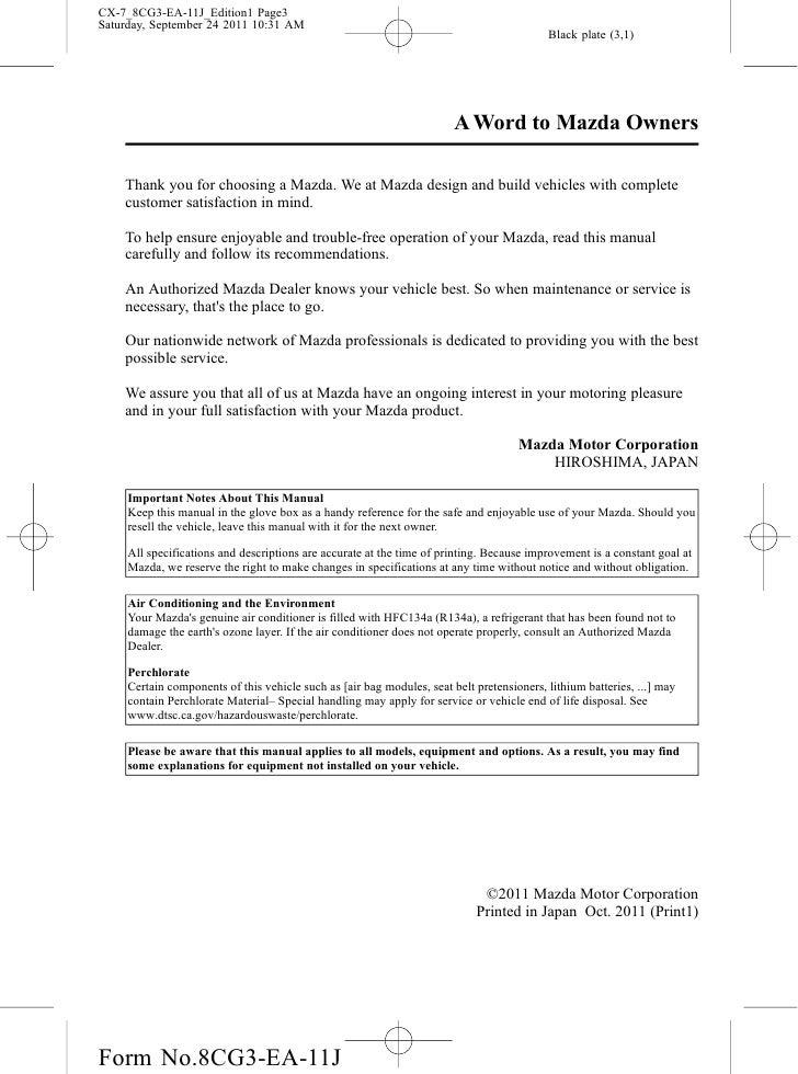 2012 mazda cx 7 crossover suv owners manual provided by naples mazda rh slideshare net Mazda CX-7 2011 Interior 2011 mazda cx 7 owner manual