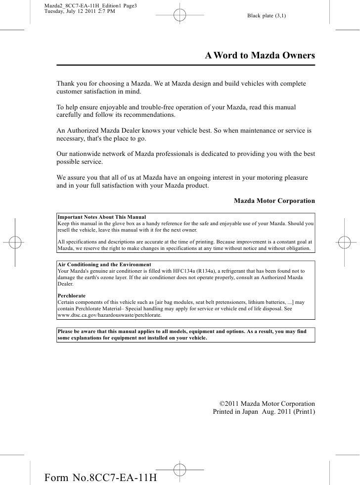 2012 mazda mazda2 hatchback owners manual provided by naples mazda rh slideshare net Mazda CX-9 Mazda Owner Manuals PDF