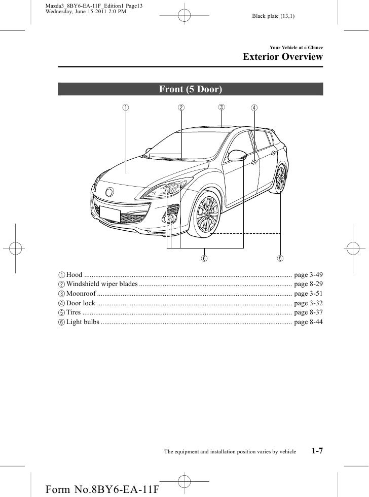 2012 Mazda Mazda3 Sedan and Hatchbackowners manual