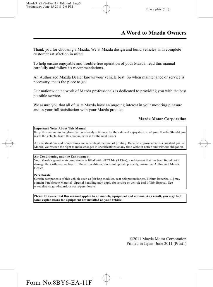 2012 mazda mazda3 sedan and hatchbackowners manual provided by naples rh slideshare net mazda 3 owners manual 2013 mazda 3 service manual 2011
