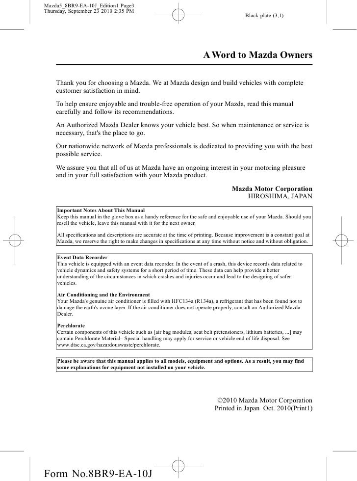 2012 mazda mazda5 minivan owners manual provided by naples mazda rh slideshare net Mazda CX-9 Mazda SUV