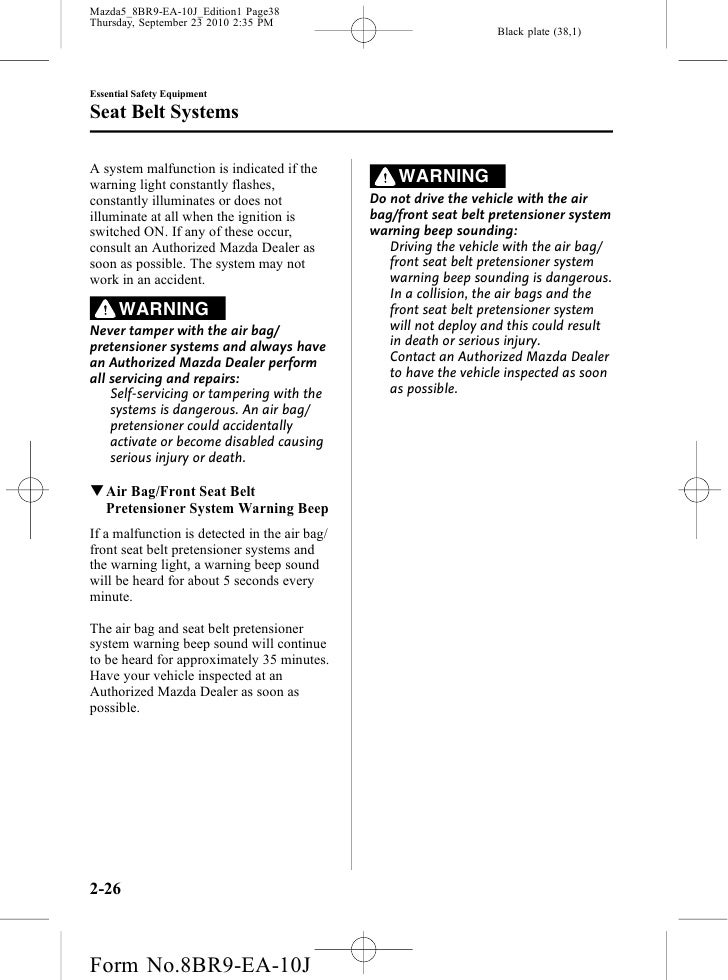 mazda 5 warning lights manual