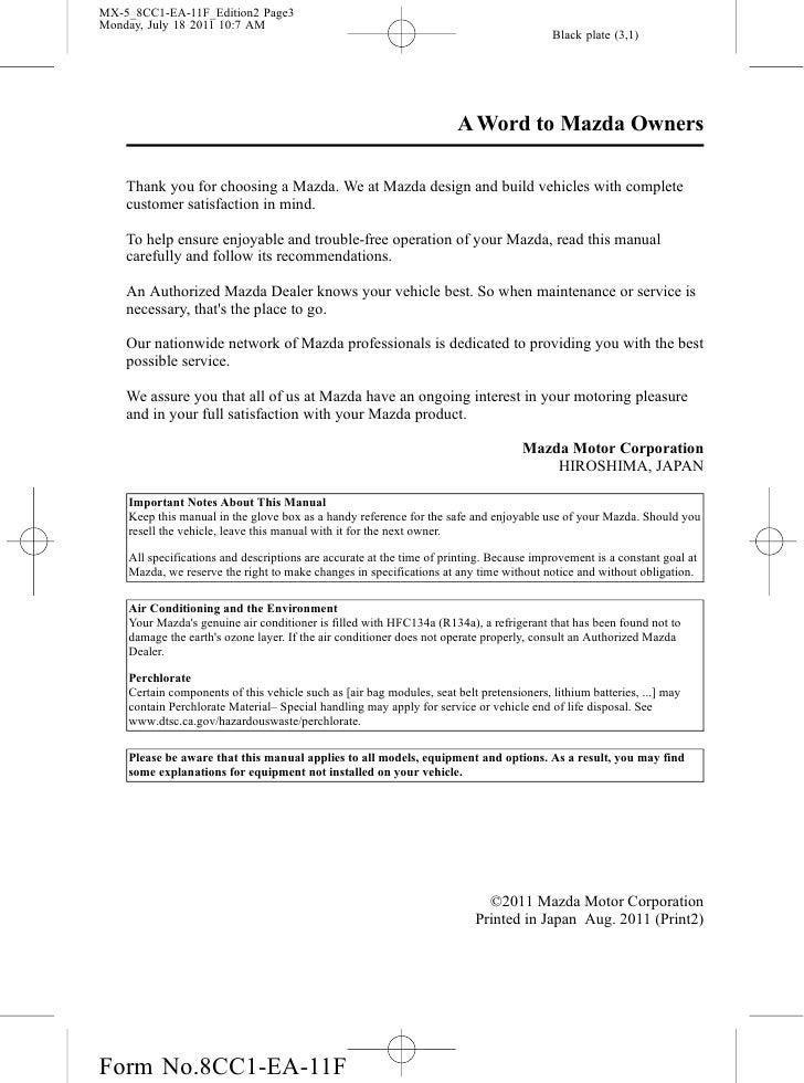 2012 mazda mx 5 miata convertible owners manual provided by naples ma rh slideshare net 2004 Mazda Premacy 2010 Mazda Premacy