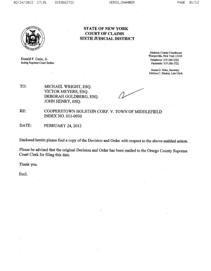 Middlefield, NY Court Decision on Shale Gas Drilling Ban