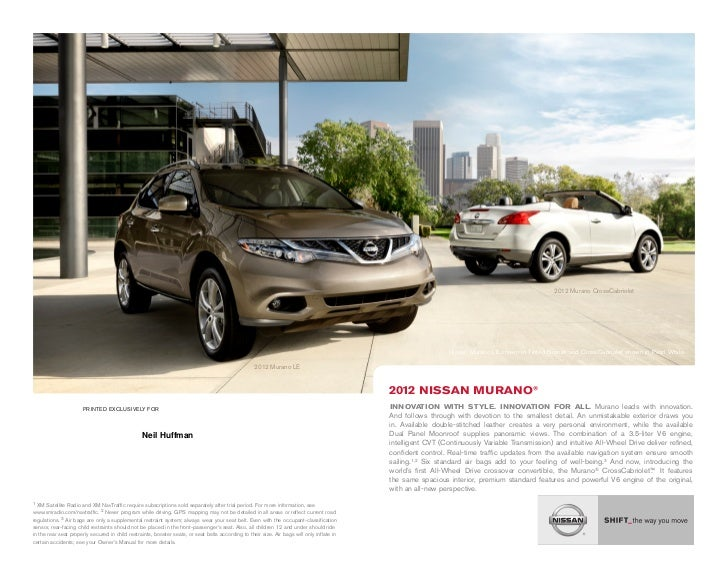 Neil Huffman Nissan >> 2012 Nissan Murano Brochure By Neil Huffman Nissan Louisville Ky