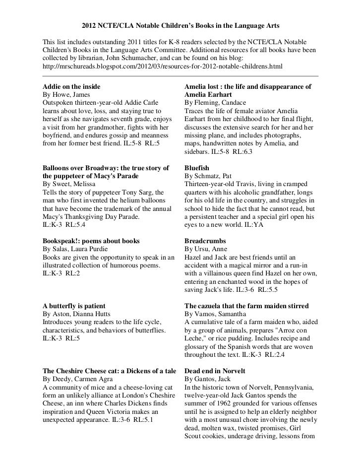 2012 NCTE/CLA Notable Children's Books in the Language ArtsThis list includes outstanding 2011 titles for K-8 readers sele...