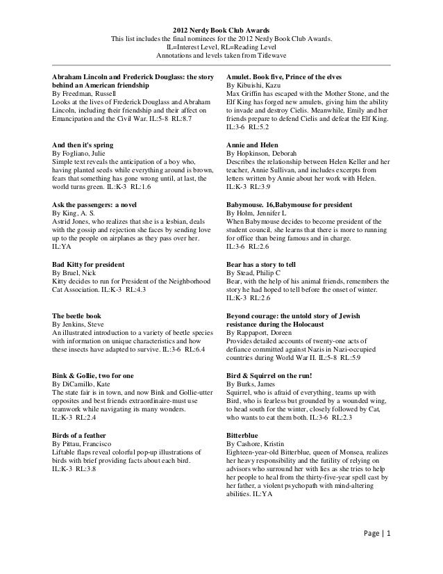 2012 Nerdy Book Club Awards                     This list includes the final nominees for the 2012 Nerdy Book Club Awards....