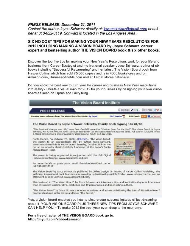 PRESS RELEASE: December 21, 2011 Contact the author Joyce Schwarz directly at: joyceschwarz@gmail.com or call her at 310-8...