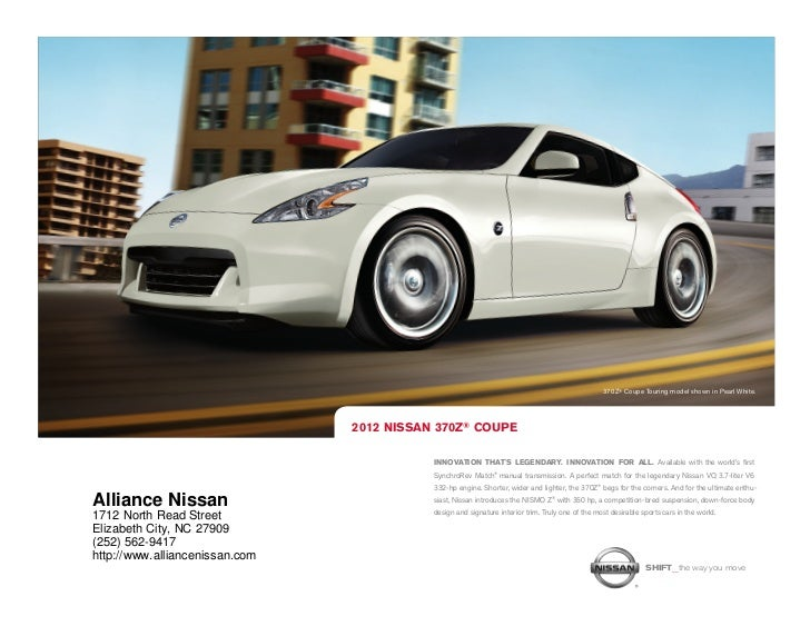 ... NC | Nissan Dealer Near Jacksonville. 370Z ® Coupe Touring Model Shown  In Pearl White.