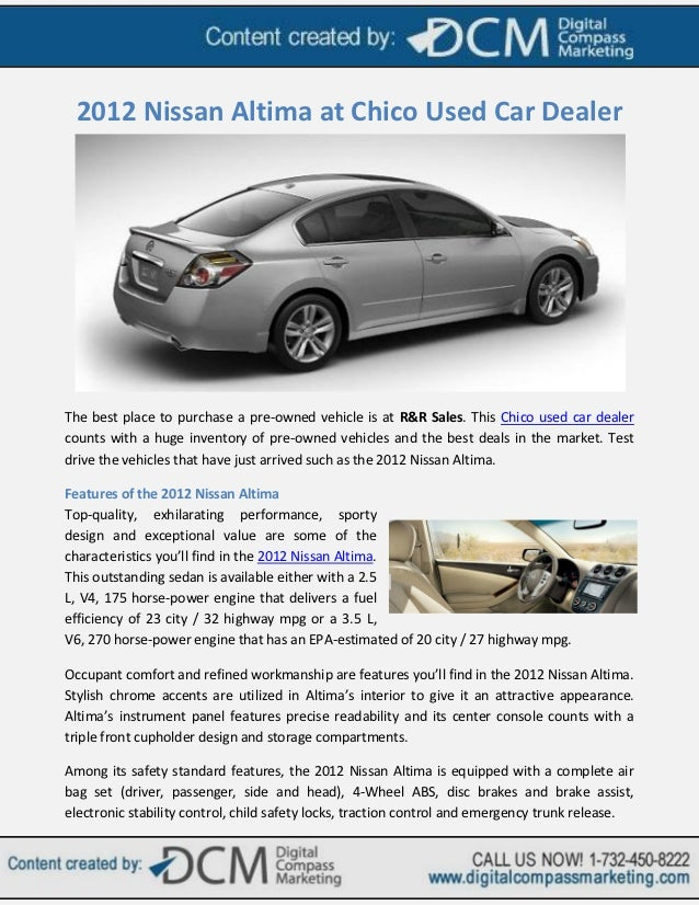 2012 Nissan Altima At Chico Used Car Dealer
