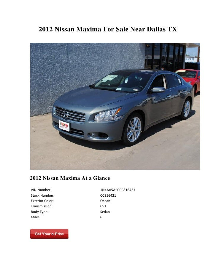 2012 nissan maxima for sale near dallas tx. Black Bedroom Furniture Sets. Home Design Ideas