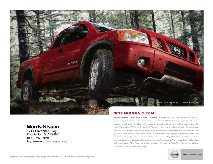 ... SC | Nissan Dealer Charleston. Nissan Titan King Cab Pro 4x Shown In  Red Alert.