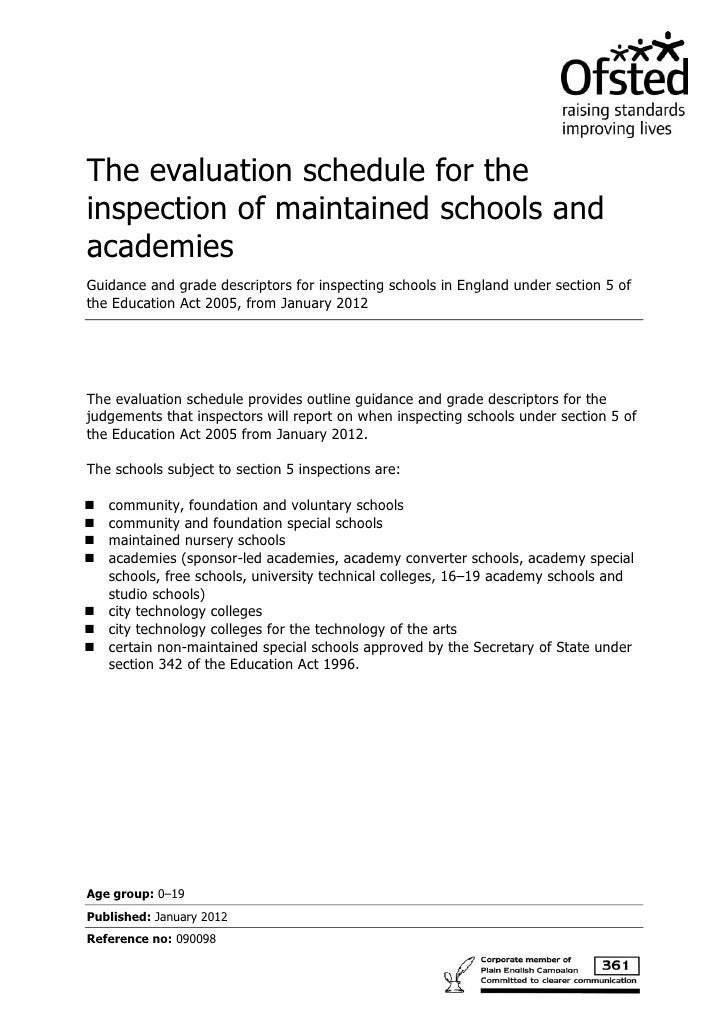 The evaluation schedule for theinspection of maintained schools andacademiesGuidance and grade descriptors for inspecting ...