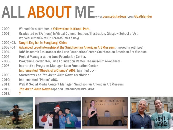 ALL ABOUT ME                                                 www.countedshadows.com @bathlander2000:    Worked for a summe...