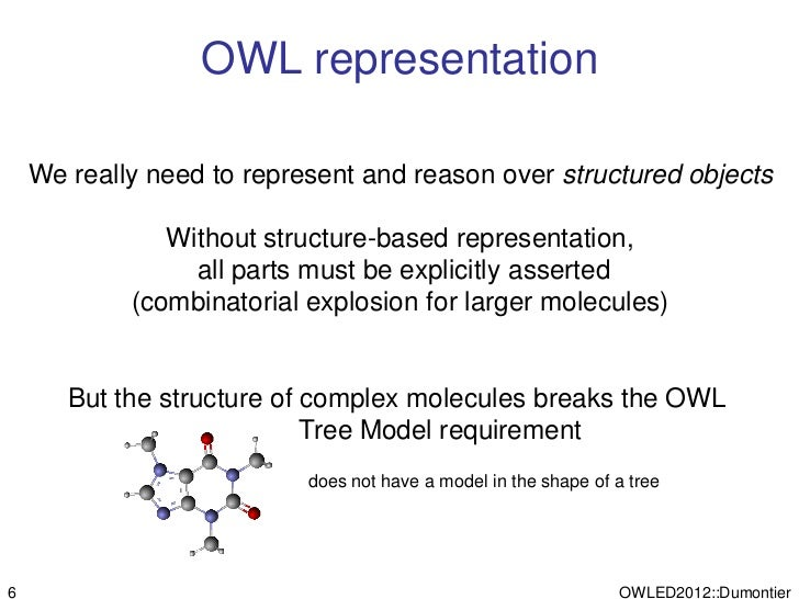 OWL representation    We really need to represent and reason over structured objects               Without structure-based...