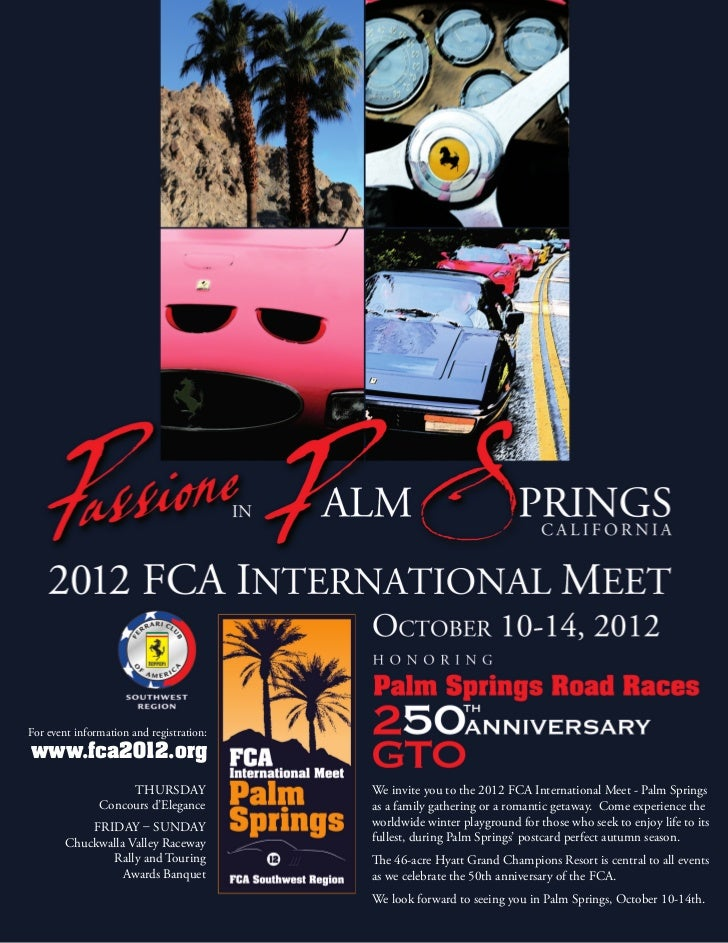 For event information and registration:www.fca2012.org                    Thursday              We invite you to the 2012 ...