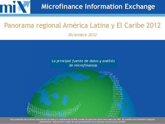 Microfinance Information ExchangePanorama regional América Latina y El Caribe 2012                                        ...