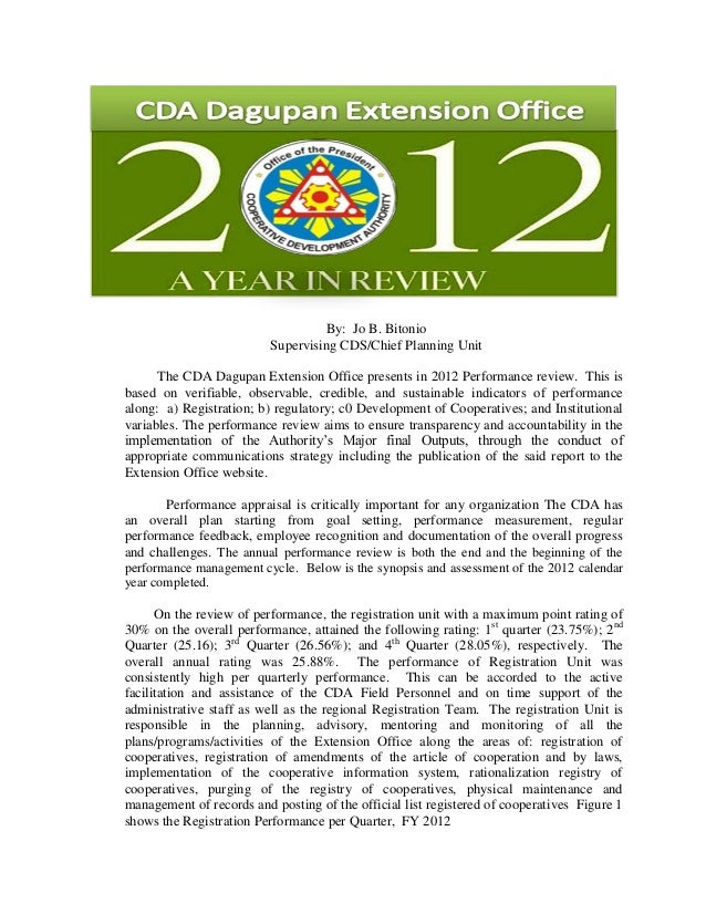 By: Jo B. Bitonio                          Supervising CDS/Chief Planning Unit      The CDA Dagupan Extension Office prese...