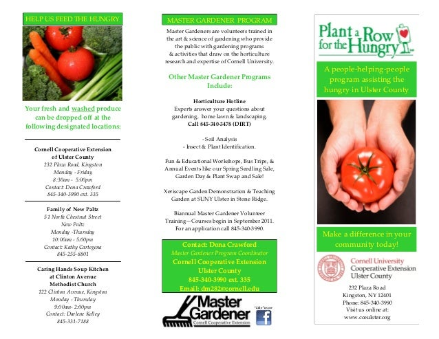 HELP US FEED THE HUNGRY             MASTER GARDENER PROGRAM                                    Master Gardeners are volunt...