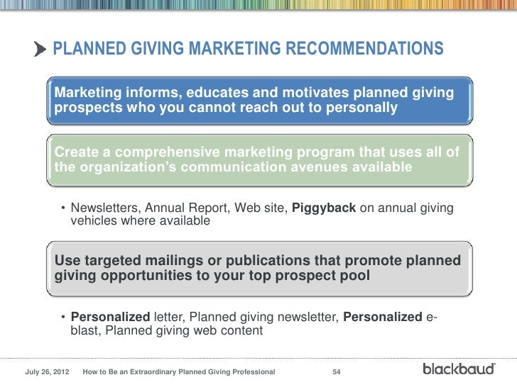 planned giving marketing recommendations - Sample Planned Giving Letters