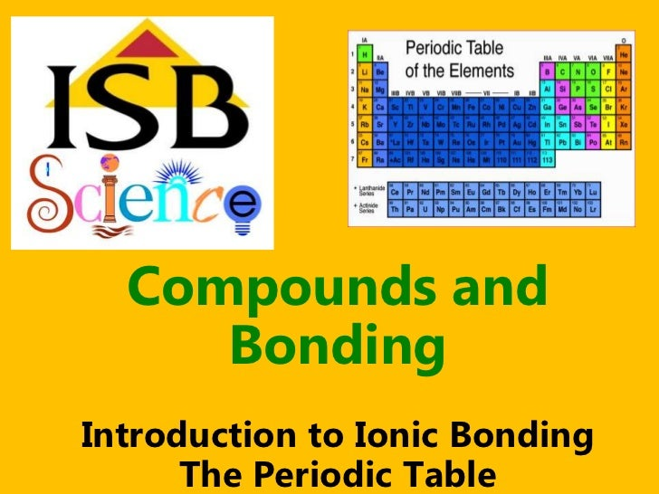 Compounds and     BondingIntroduction to Ionic Bonding      The Periodic Table