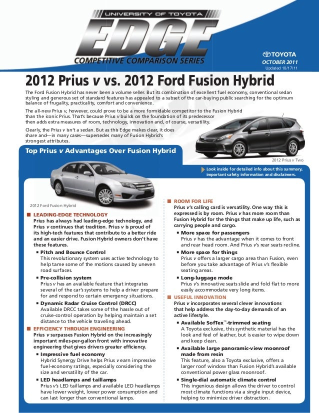 2012 Prius V Vs. 2012 Ford Fusion Hybrid Look Inside For Detailed Info  About This ...