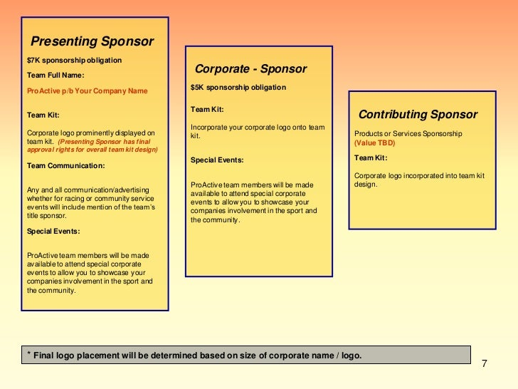 Pro Active Sponsorship Proposal - Best of sponsorship proposal presentation concept