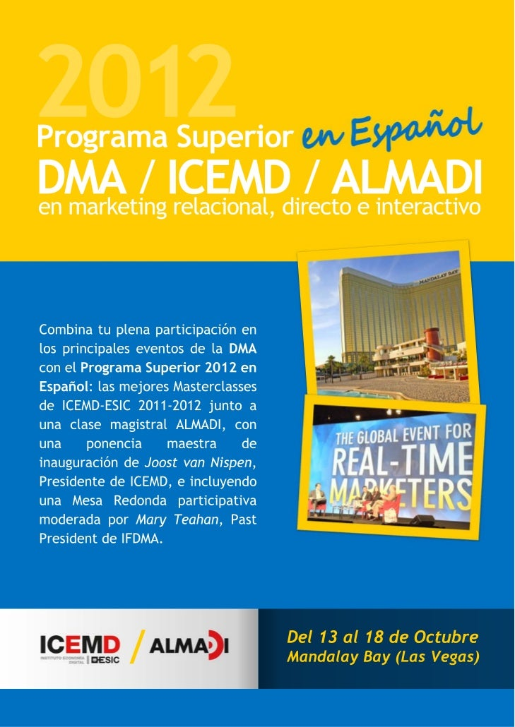 DMA:2012  CONFERENCE & EXHIBITION                                                          October 13 – 18, 2012          ...