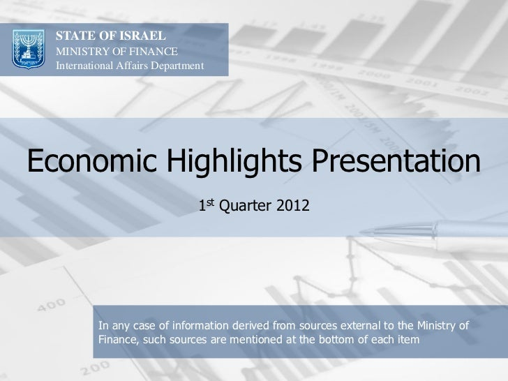 STATE OF ISRAEL  MINISTRY OF FINANCE  International Affairs DepartmentEconomic Highlights Presentation                    ...