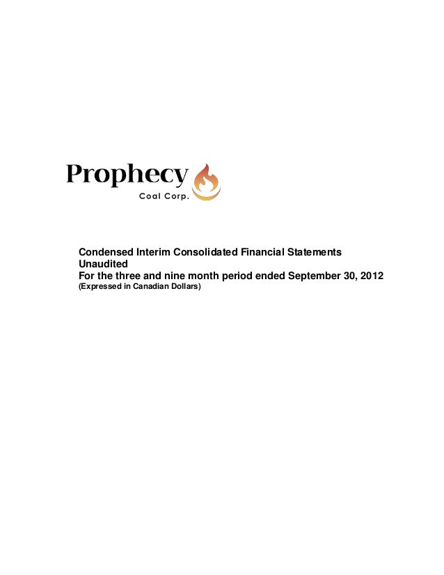 Condensed Interim Consolidated Financial StatementsUnauditedFor the three and nine month period ended September 30, 2012(E...