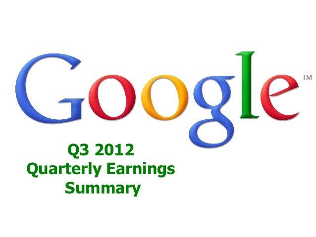 Q3 2012Quarterly Earnings    Summary