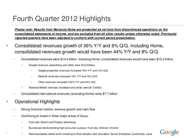 Google Q4 2012 Quarterly Earnings Summary Slide 2