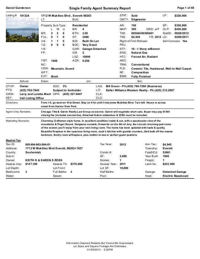 Daniel Gunderson                                    Single Family Agent Summary Report                                    ...