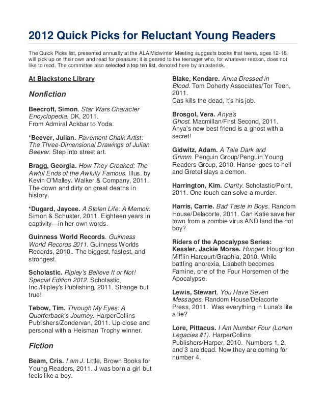 2012 Quick Picks for Reluctant Young ReadersThe Quick Picks list, presented annually at the ALA Midwinter Meeting suggests...