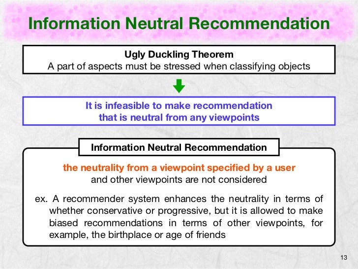 Information Neutral Recommendation                    Ugly Duckling Theorem  A part of aspects must be stressed when class...