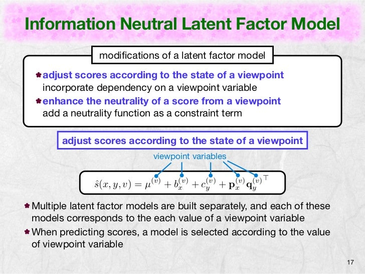 Information Neutral Latent Factor Model               modifications of a latent factor model  adjust scores according to th...