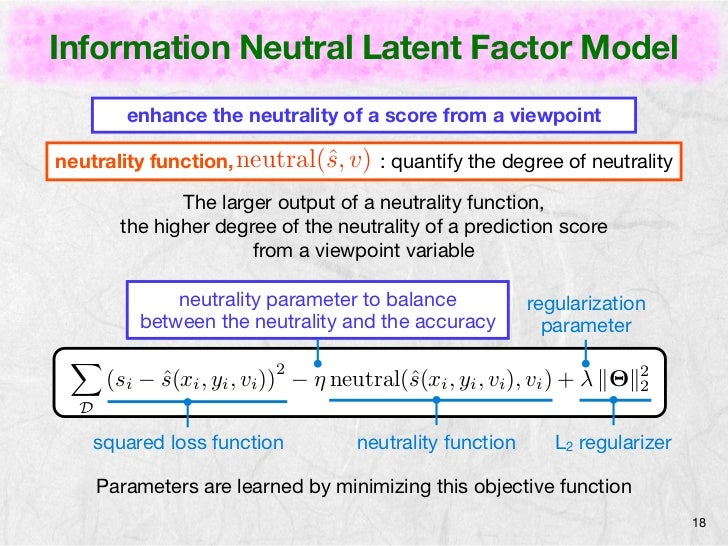 Information Neutral Latent Factor Model         enhance the neutrality of a score from a viewpointneutrality function, neu...