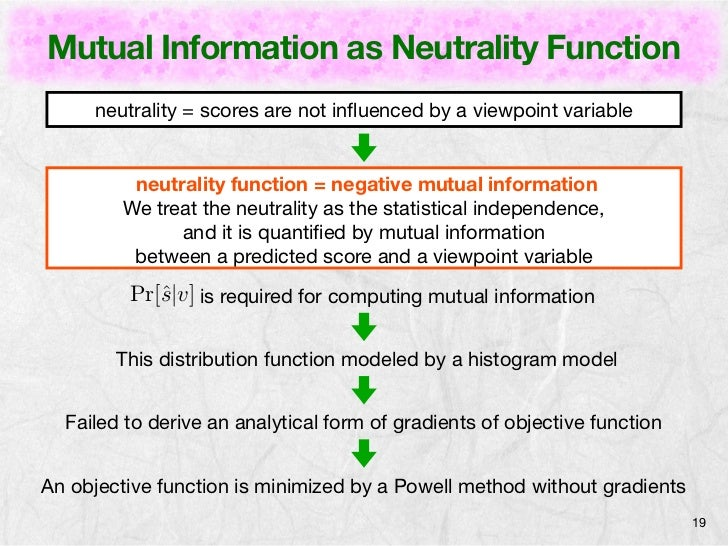 Mutual Information as Neutrality Function     neutrality = scores are not influenced by a viewpoint variable          neutr...