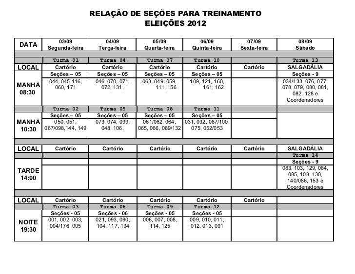 RELAÇÃO DE SEÇÕES PARA TREINAMENTO                                      ELEIÇÕES 2012             03/09             04/09 ...