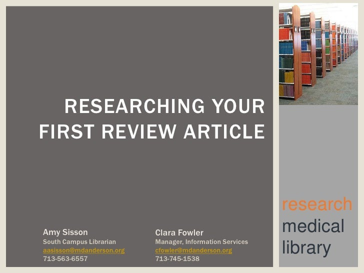 RESEARCHING YOURFIRST REVIEW ARTICLE                                                          researchAmy Sisson          ...