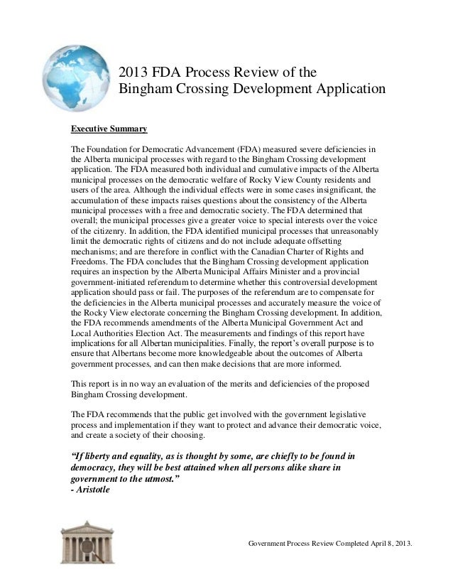 2013 FDA Process Review of theBingham Crossing Development ApplicationGovernment Process Review Completed April 8, 2013.Ex...