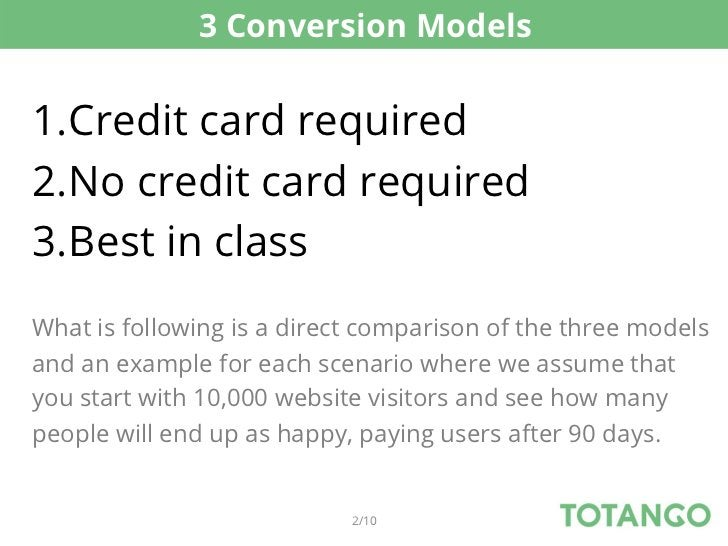3 Conversion Models1.Credit card required2.No credit card required3.Best in classWhat is following is a direct comparis...