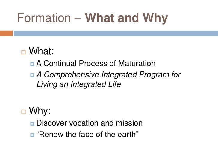 Formation – What and Why   What:    A  Continual Process of Maturation     A Comprehensive Integrated Program for      ...