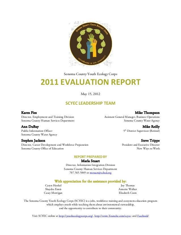 Sonoma County Youth Ecology Corps               2011 EVALUATION REPORT                                                May ...