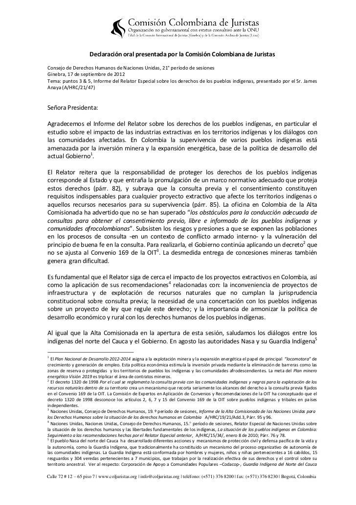 Declaración oral presentada por la Comisión Colombiana de JuristasConsejo de Derechos Humanos de Naciones Unidas, 21° perí...