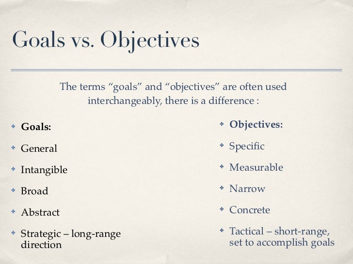 goals vs objectives 2 let's try setting goals and objectives: a simple example what is your goal for being in this class/in college what are your objectives for taking this class/degree.
