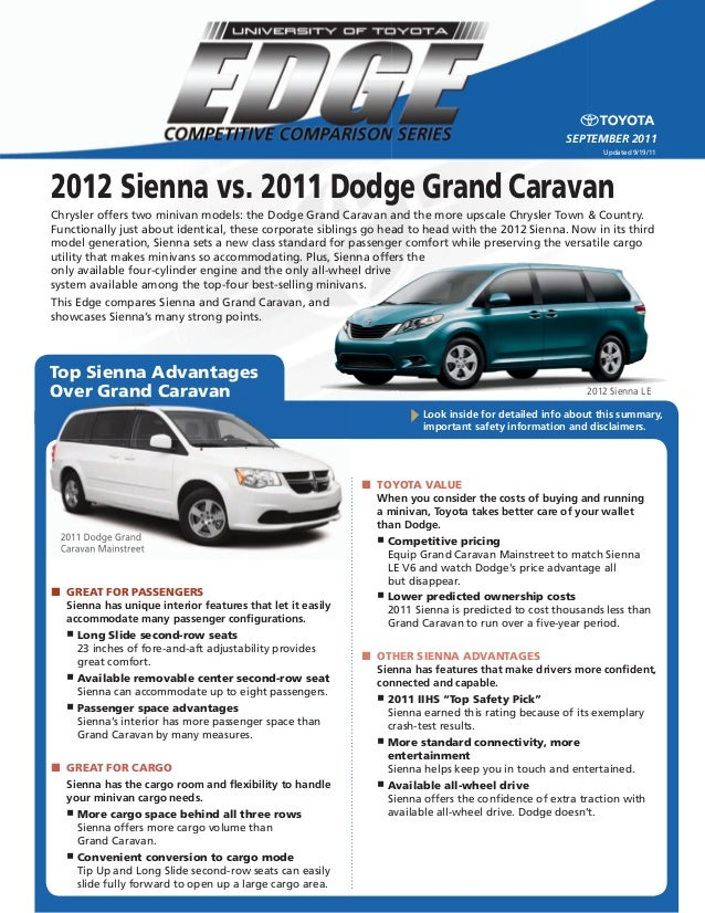 West Herr Used Cars >> 2012 sienna vs. 2011 dodge grand caravan - north hollywood toyota, lo…