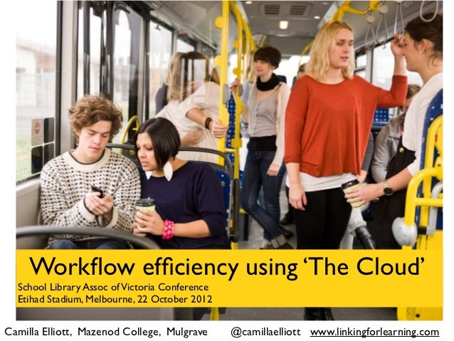 Workflow efficiency using 'The Cloud'  School Library Assoc of Victoria Conference  Etihad Stadium, Melbourne, 22 October 20...