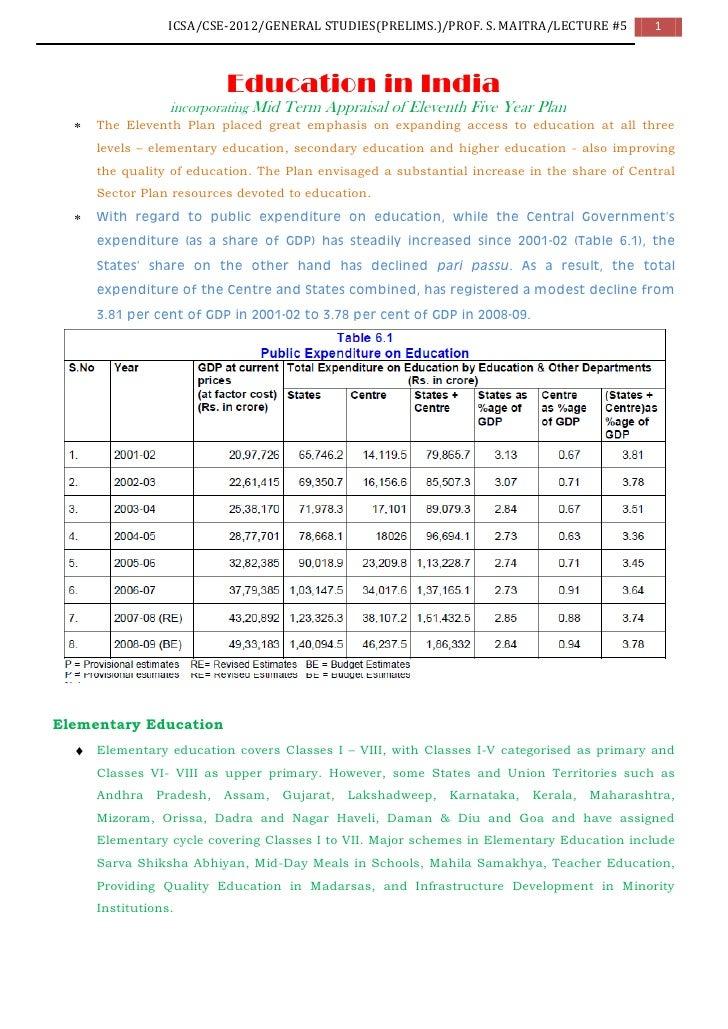 ICSA/CSE-2012/GENERAL STUDIES(PRELIMS.)/PROF. S. MAITRA/LECTURE #5         1                         Education in India   ...